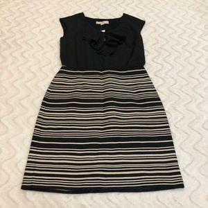 Loft Black Top, striped skirt dress. Size 2.